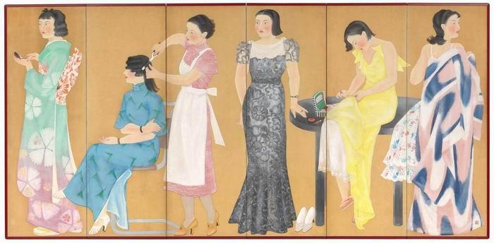 Taniguchi Fumie 《出行准备》1935年 六屏屏风
