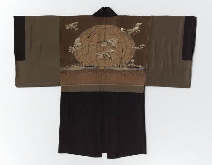1920-1940年男士和服,绘有地球、飞机和船只