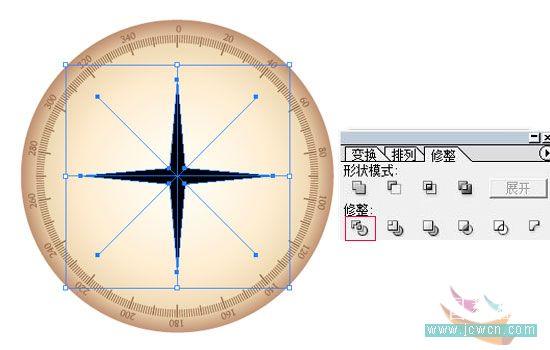 Illustrator鼠绘教程:简单绘制金色指南针_中国教程网