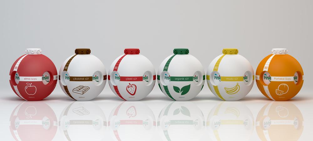 Pinar牛奶和果汁概念包装设计
