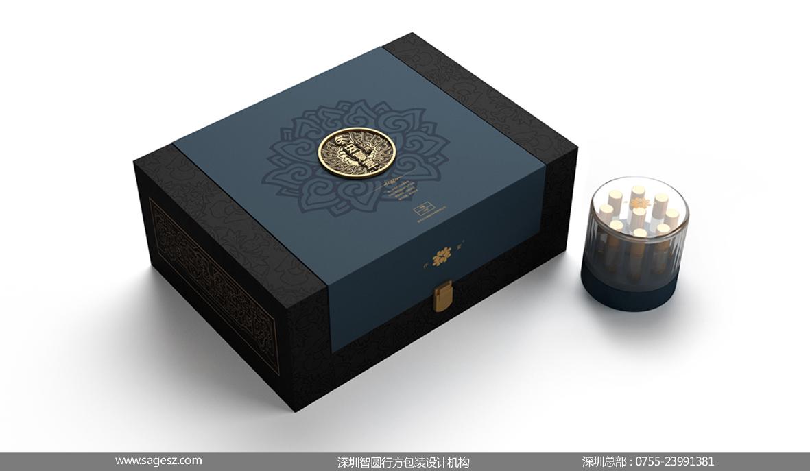 冬虫夏草皮盒包装设计 高档木盒包装设计 保健品木盒包装