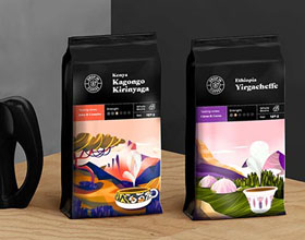漂亮的Drop In咖啡套餐包装设计