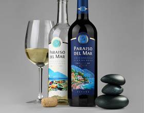 西班牙PARAISO DEL MAR半干红葡萄酒包装设计