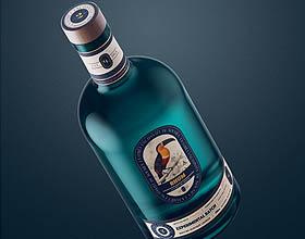 独特的Blue Lagoon白色香料朗姆酒包装设计