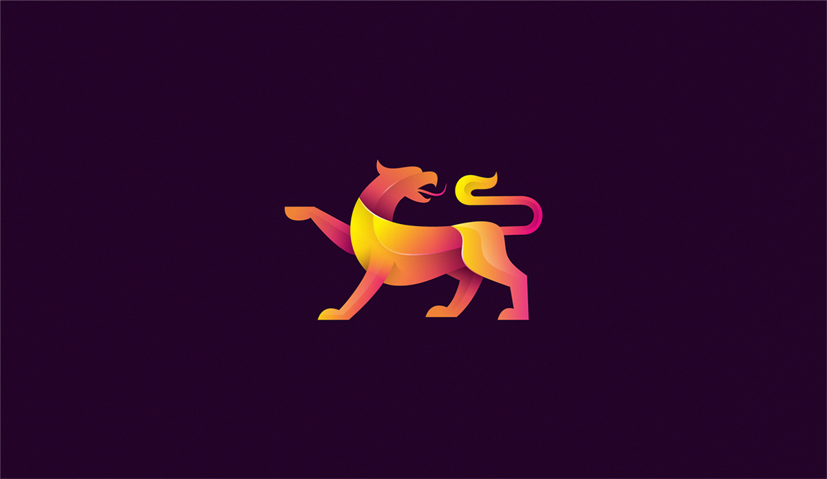 三维色彩渐变小动物logo设计