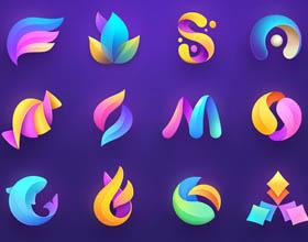40个极富创意的酷炫3D彩色渐变logo设计