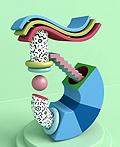 绚丽的3D数字艺术各种形状楼梯插图