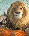 狮子和浣熊插画