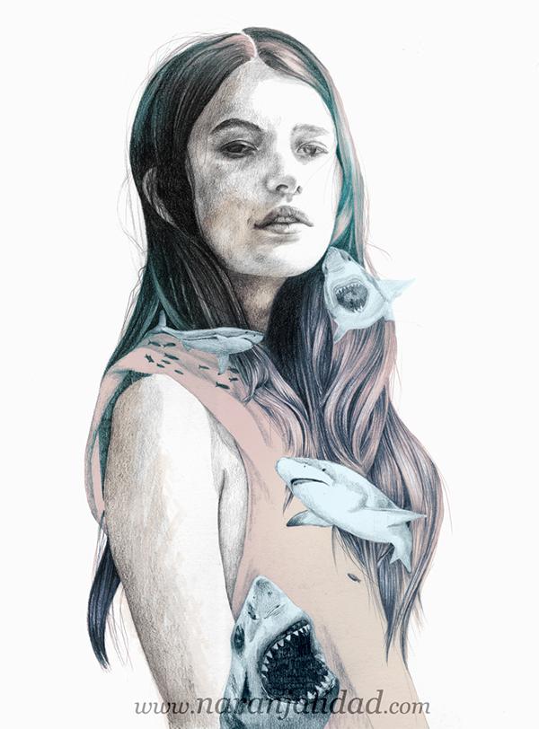 Naranjalidad BR是西班牙自由插画家手绘肖像