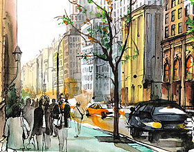俄罗斯Darya Malikova水彩城市插画设计作品欣赏