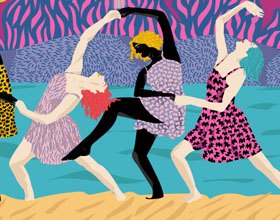 星空下跳舞的女人插画作品欣赏