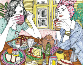 国外插画师AnaJarén的女性生活插画