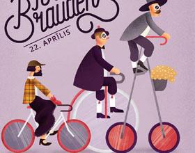 拉脱维亚里加自行车周插画海报设计欣赏