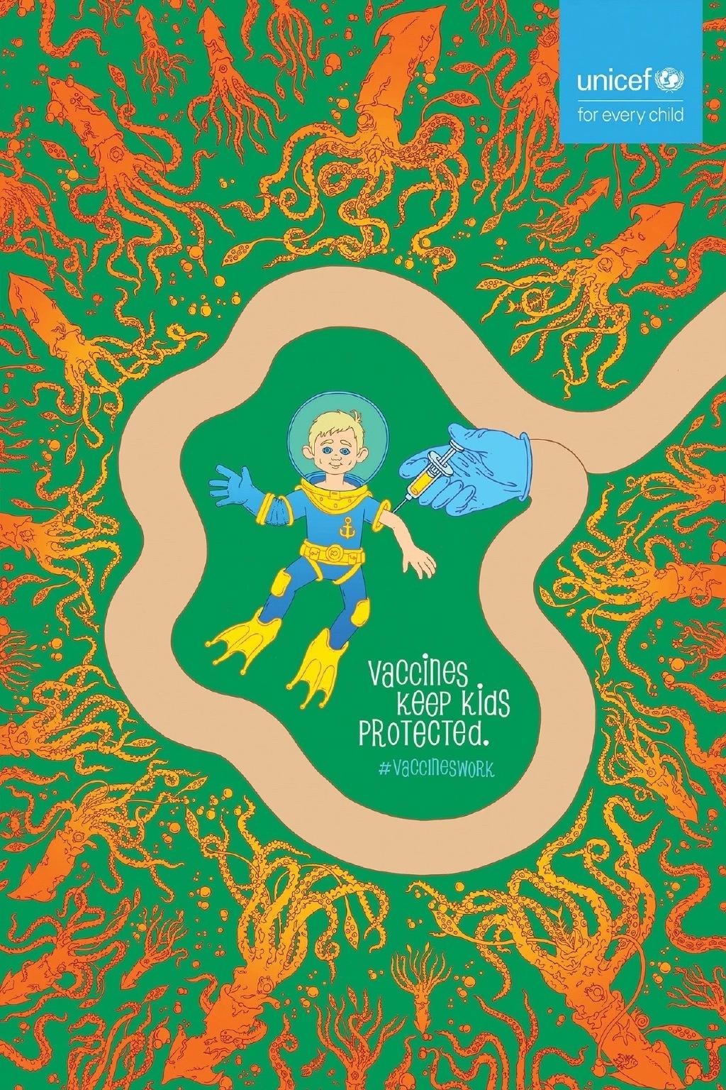 联合国儿童基金会:牛痘疫苗系列海报设计