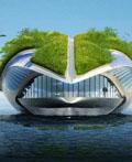 巨型的海上绿色生态移动公园