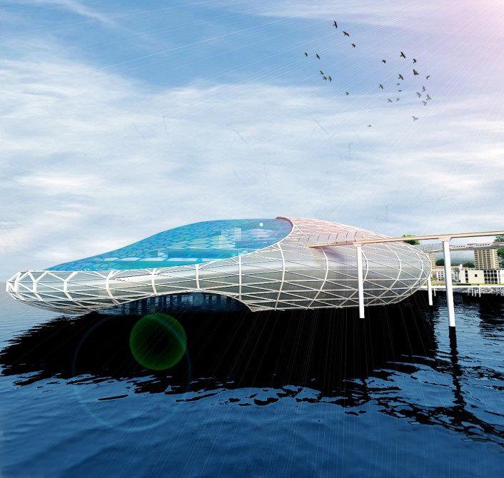 独特的印度Kerala浮动运输枢纽建筑设计