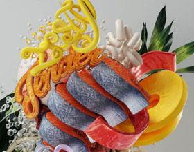 """创意的""""世界美食""""主题平面广告3D字体设计"""