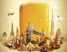 美国American Tourister旅行箱平面广告设计