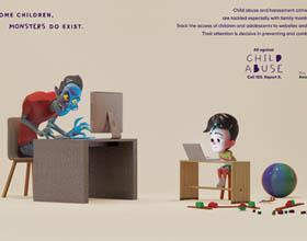 巴西AL/RN反对虐待儿童公益平面广告
