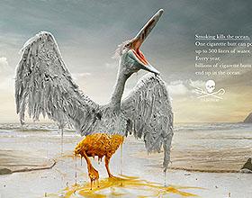 世界海洋日公益平面广告:吸烟杀死海洋