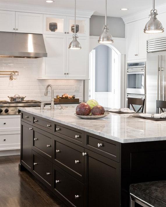 50个现代和传统的室内厨房岛设计灵感